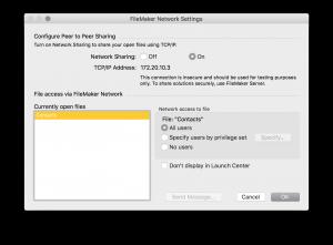 FileMaker Network Settings for host